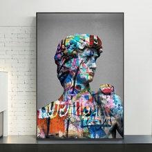 Portre David heykel soyut resimler duvar sanat posterler ve baskılar grafiti sanat David tuval resimleri ev dekor