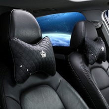 2 Pcs Car Seat Headrest pillow Neck Pillow Crown Rhinestone Covered Decoration Interior car accessories interior woman