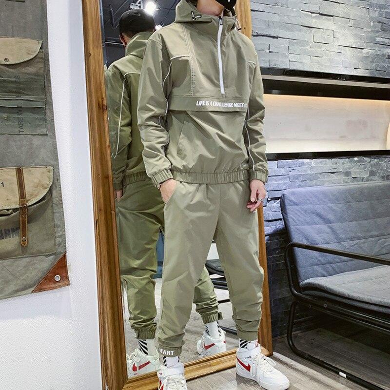 Korean Hip Hop Tracksuit Men Hooded Pocket Loose Green Casual Jacket Men Long Sleeve Street Mens Clothes Set Large Size B60