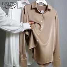Spring Fashion Button Up Satin Silk Shirt Vintage Blouse Women White Tops Lady Long Sleeves Female Loose Street Shirts 11355