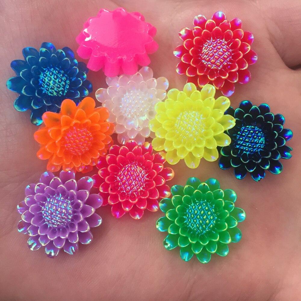 DIY 6pcs mix 25mm AB Resin 3d flower Flatback Rhinestone Wedding buttons crafts