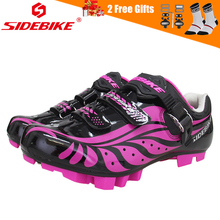 SIDEBIKE 2018 New Pro Womens Cycling Shoes Anti-slip Breathable Cycle Mountain Bike MTB with Buckle and Hook & Loop