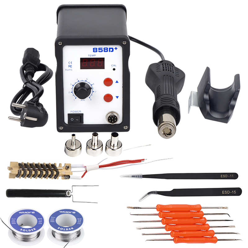 WMORE Hot Air Gun 858D 700W BGA Welding Rework Solder Station SMD Soldering LED Digital Station 220V 110V Solder Repair Tool Kit