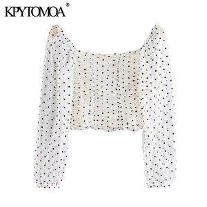 KPYTOMOA женские модные укороченные блузки в горошек, винтажные прозрачные женские рубашки с рукавом три четверти, шикарные топы, 2020