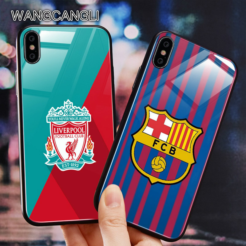 Wangcangli football phone case Team glass for iPhone 7 XS Max XR 6S black 6 mirror