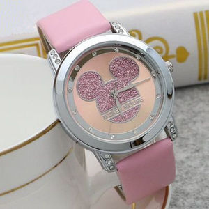 Mickey Mouse Minni Steel Quartz Watch Cartoon Children Watches Crystal Diamond Ladies Student Women Anime Clock Girls Golden(China)
