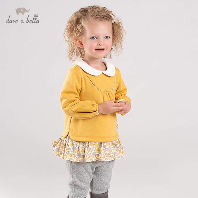 DBJ11489 dave bella hiver bébé filles mode arc floral vêtements ensembles enfants mignon à manches longues ensembles enfants 2 pièces costume