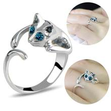 Women Cute Alloy Faux Gemstone Blue Eyes Cat Open Finger Ring For Women Girls Simple Fashion Jewelry Party Jewelry Gifts(China)