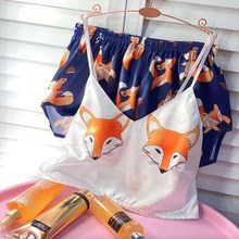 Pijama de unicornio para mujer, Sexy, de seda, de satén, para verano, con cuello en V, 2020