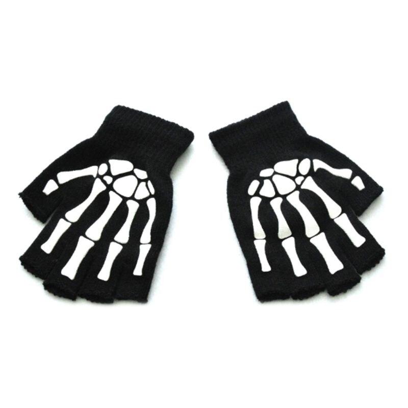 Kids Halloween Cosplay Skeleton Half Finger Gloves Luminous Fingerless Mittens LX9E