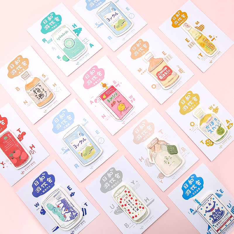 30pcs/lot Milk Bottle Memopad Japanese Stationery Kawaii Sticky Notes Planner Stickers Memo Sheets Notepad Office Decoration
