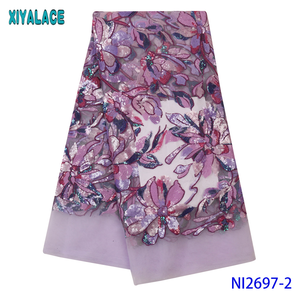 Colorful Sequin Fabric Lace High Quality African Fabric Lace 2019 French Lace Fabric With Sequence For Wedding Dresses KSNI2697