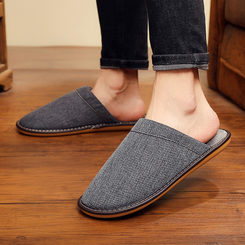 Winter Men's Slippers Warm Home Fur Slipper Cotton And Linen Male Couple Platform Indoor House Shoes For Husband Gift Plus Size