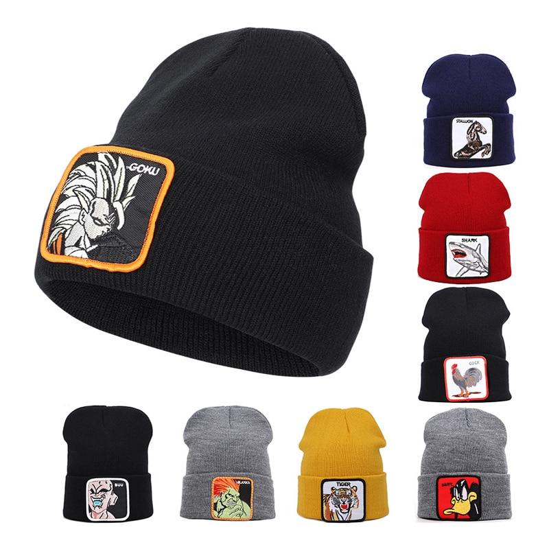Dragon Ball VEGETA Winter Beanies For Men Cartoon Characters Embroidery Winter Warm Knitted Hat Women Bonnet Unisex Hip Hop Hat