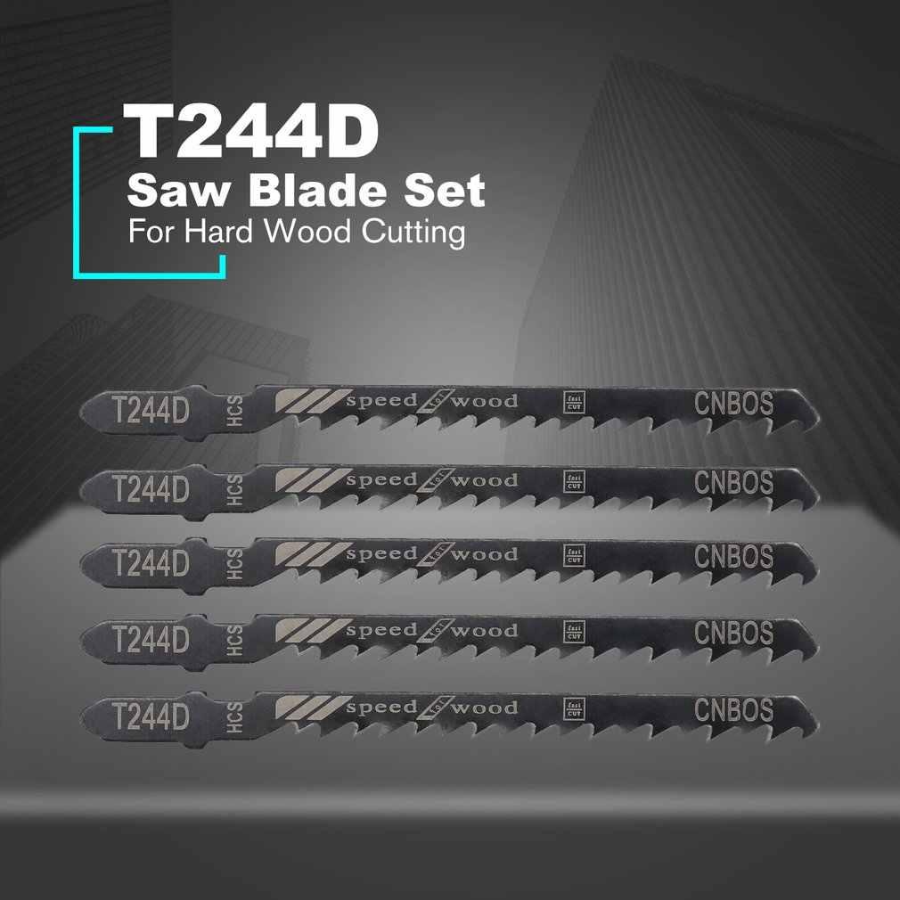 5 개/대 T244D 톱 블레이드 쇠톱 지그 톱 블레이드 세트 왕복 커브 톱 블레이드 하드 우드 톱 커팅 도구