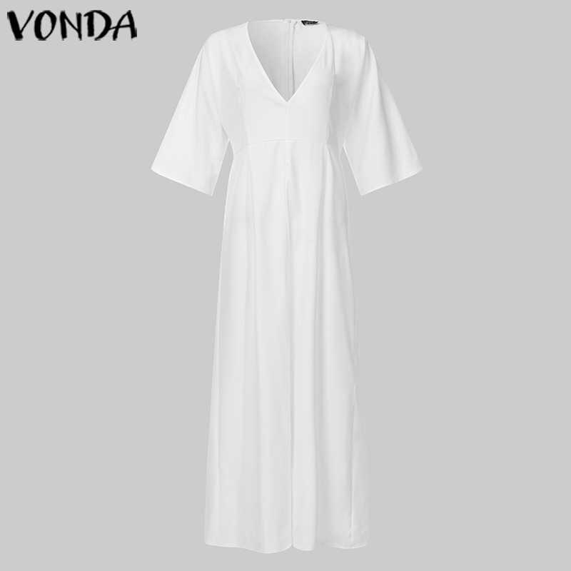 VONDA נשים סקסי V צוואר פיצול Hem ארוך חולצות מסיבת קוקטייל סקסי שמלת OL משרד ארוך חולצות נקבה חג Vestidos בתוספת גודל
