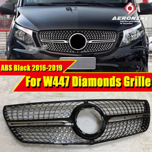 For MercedesMB W447 Sport grille grill vito Diamonds style ABS Black without sign V class V260 V250 look Front grills 2016-2019