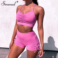 Simenual Push Up Ruched Sporty Active Wear Matching Sets Women Casual Short Slee
