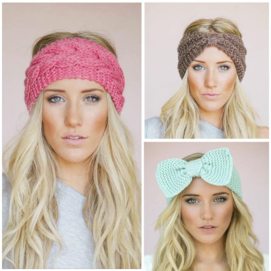 Women Ladies Winter Crochet Knit Knitted Wool Hat Headband Head Wrap Ear Band J