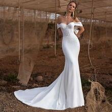 Свадебное платье русалки simllle атласное vestido de nueva с