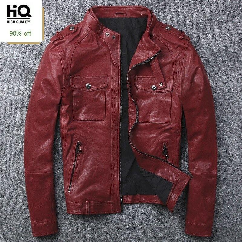 Autumn New Men Biker Windbproof Stand Collar Real Leather Jacket 100% Sheepskin Pilot Outwear Coat Genuine Leather Bomber Jacket