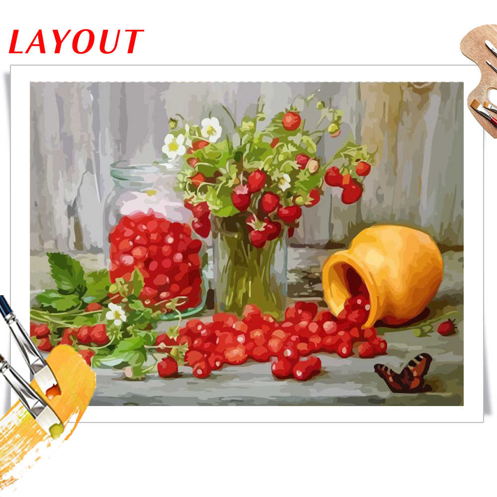 Painting Numbers DIY Number Food Canvas Hand Paint Painted Oil Flowers