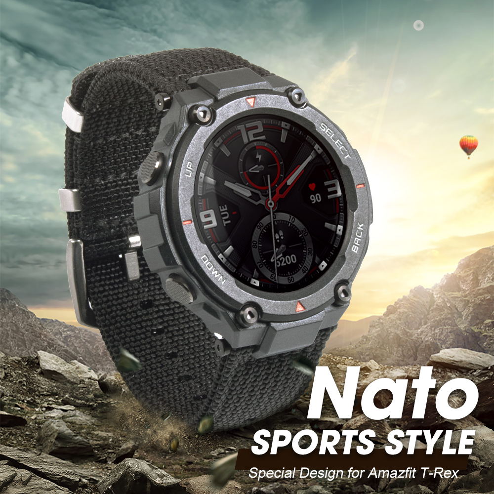 NATO Nylon Watch Band For Amazfit T-Rex Watch Charger Canvas Watch Strap For Huami T-Rex Watch Screen Film Watch Bracelet