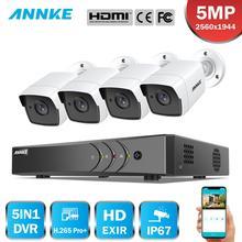 ANNKE 8CH 5MP 5IN1 Ultra HD güvenlik kamerası sistemi H.265 + 4 adet 5MP TVI Bullet hava koşullarına dayanıklı beyaz güvenlik gözetleme sistemi