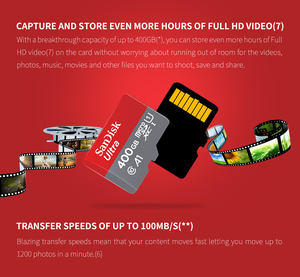 Image 2 - Sandisk Micro SD card 64GB 128GB 200GB 256GB 400GB100Mb/s TF card SDHC/SDXC memory card 16GB 32GB  98MB/s For tablet /smartphone
