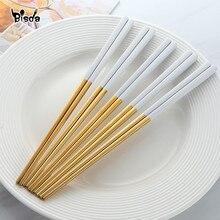 5 pares pauzinhos de aço inoxidável titanize chinês ouro chopsitcks conjunto preto metal chop sticks conjunto usado para sushi louça