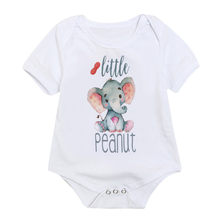 Kids Infant Girl Boy Cartoon Elephant Baby Rompers Toddler Decoration Short Sleeve Letter Overalls For Girls Boys(China)