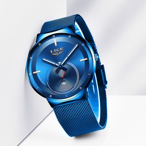 Image 2 - 2020 Watch Women And Men Watch LIGE Top Brand Luxury Ladies Mesh Belt Ultra thin Watch Waterproof Quartz Wrist watch Reloj Mujer