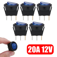 цена на 5pcs 2 Pins Car Boat Waterproof ON/OFF SPST Round Rocker Dot Blue LED Light Mini Toggle Electrical Switch DC 12V