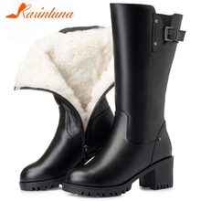 Karinluna Fashion Hot Sale Female Shoes Big Size 42 Short Plush Square Thick Heels Buckle Straps Zip Winter Warm Mid-calf Boots