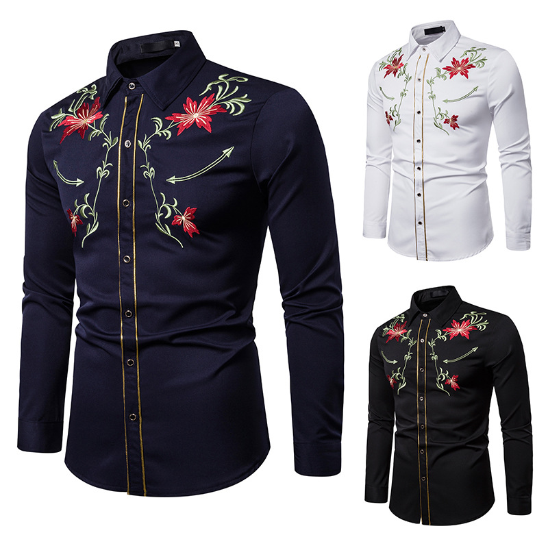 Men's Shirts Western Denim Flower Embroidered Slim Casual Long Sleeve Buttoned Shirt Men's National Wind Embroidered Shirt S-2XL