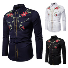 цены Men's Shirts Western Denim Flower Embroidered Slim Casual Long Sleeve Buttoned Shirt Men's National Wind Embroidered Shirt S-2XL