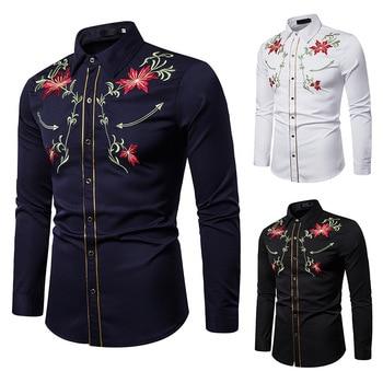 Men's Shirts Western Denim Flower Embroidered Slim Casual Long Sleeve Buttoned Shirt Men's National Wind Embroidered Shirt S-2XL flower embroidered long sleeve ruffled top
