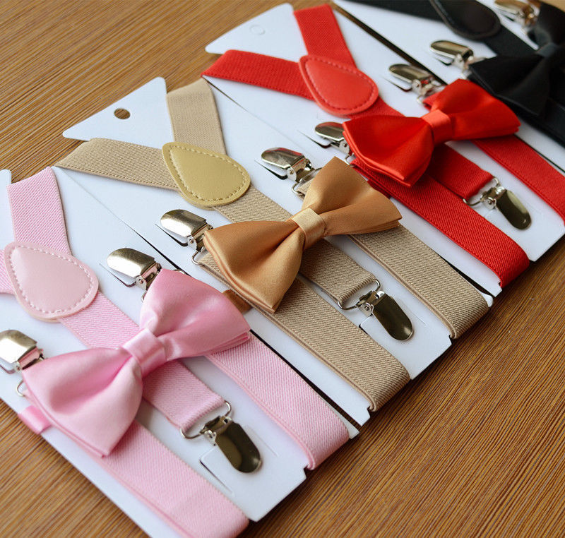 Kids Hot Adjustable Elastic Suspenders Bow Tie Set Matching Tuxedo Suit Unisex Boy Girl Bowtie Wedding Costume Y-Back Brace Belt