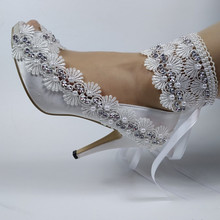 цена на 2020 New Arrival White Peep Toe shoes Women Ankle Strap Bridal Wedding shoes female Open Toe party Dress shoes High heeled Pumps