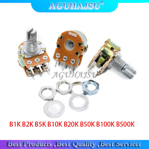 2pcs WH148 B1K B2K B5K B10K B20K B50K B100K B500K 6Pin Shaft Amplifier Dual Stereo Potentiometer 15MM
