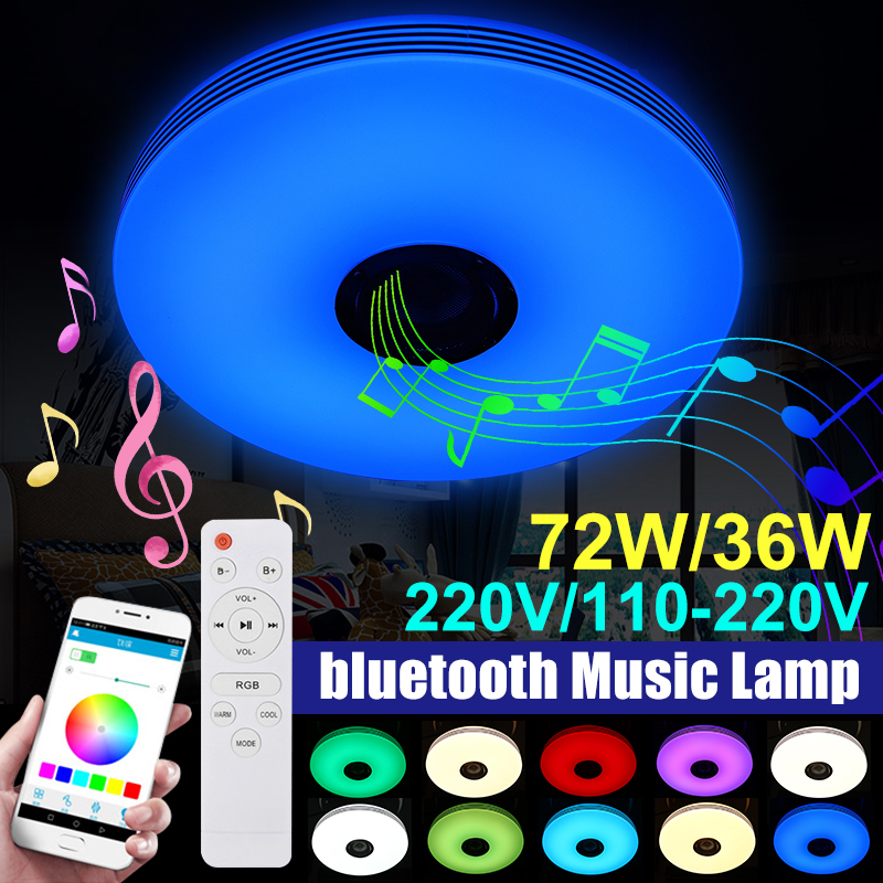 Modern LED Ceiling Lights with Dimmable RGB bluetooth Music for Livingroom 36 72W APP Control Remote Control Lamp 110V 220V