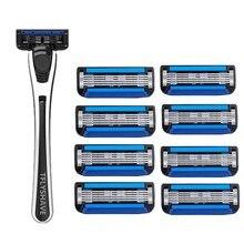 TFLYSHAVE Man Manual Shaving Razor Blade 5 Layer Razor Cartridge with Trimmer Blade Face Care Men Shaving Replaceable Blade