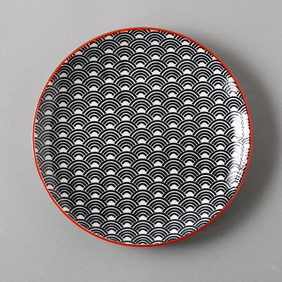 Креативный японский стиль 8 керамическая тарелка дюймовая посуда для завтрака говядины десертное блюдо для закусок простое мелкое блюдо домашнее блюдо для стейков - Цвет: 1