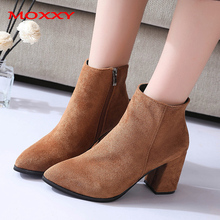 2019 New Fall Sexy High Heel Boots Women Shoes Zip Pointed Toe Elegant Chunky Ankle Black Brown Suede Fashion