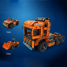 Technics 2in1 tractor-truck building block jeep Loader assemble bricks Engineering vehicle pull back toys for kids gifts(China)