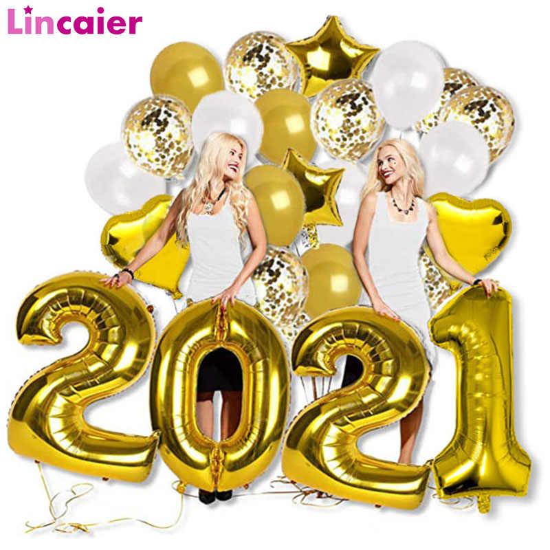 Globos dorados de aluminio con forma de número, decoración de Año Nuevo,  2021, 40 pulgadas, adornos navideños para el hogar, Globos de helio grandes  de oro rosa y plata|Globos y accesorios| - AliExpress