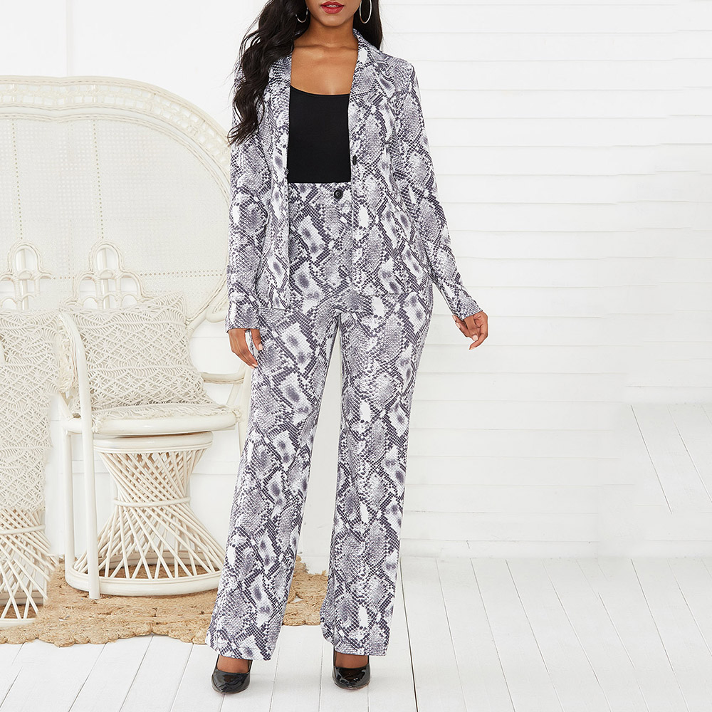 Casual Business Women Suit Set Sexy Snake Skin Printed Long Sleeve Blazer Tops And Pants Set Autumn Winter Office Two Piece Set