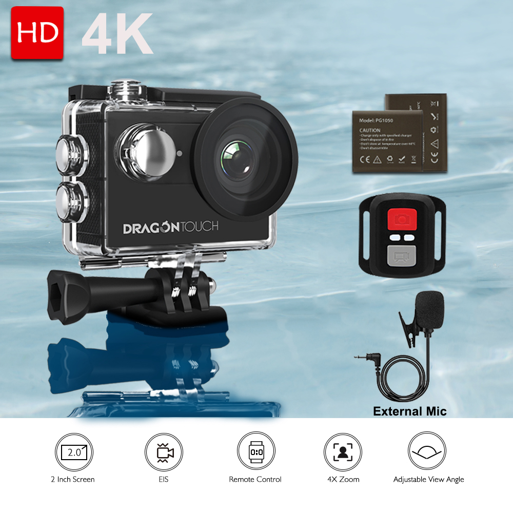 Dragon Touch Action Camera Vision 4 4K EIS 16MP Support External Mic Underwater Camera with WiFi