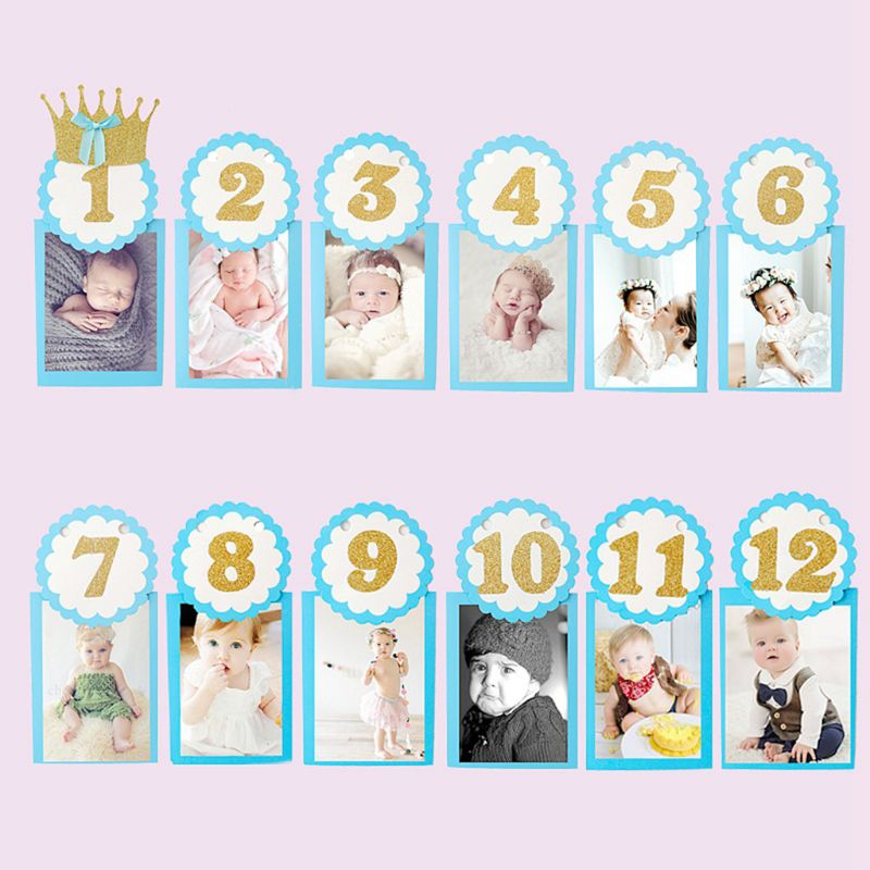 1 Set Baby Photography Props Photo Frame 1-12 Months Infants Shower Bathing Birthday Gift For Kids Room Decorations K4UE