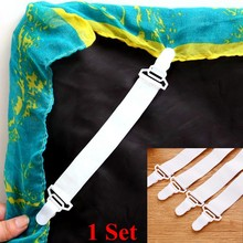4 Pcs White Bed Sheet Mattress Cover Blankets Home Grippers Clip Holder Fasteners Elastic Straps Fixing